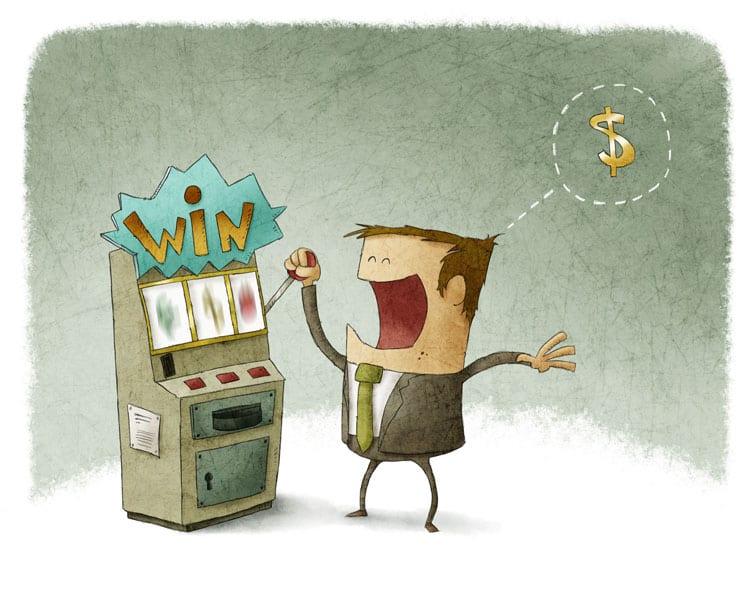 Illustration of man winning at slots machine.